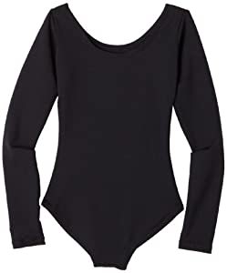 Capezio Little Girls' Team Basics Long Sleeve Leotard,Black,S (4-6)