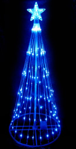 4' Blue LED Light Show Cone Christmas Tree Lighted