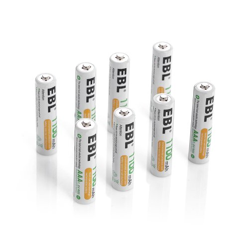 EBL 8 Pack 1500 Cycle 1100mAh AAA Ni-MH Rechargeable Batteries AAA (Typical 1100mAh, Minimum 1000mAh) (Aaa 1000 Mah Rechargeable compare prices)