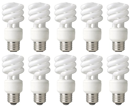 TCP DuraBright 68914B10 14W Spiral Compact Fluorescent Light Bulb, 10-Pack, Soft White