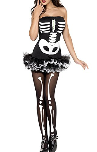 Columbustore Women's Skull Print Zombie Ghost Dress Up Halloween Costumes Tutu Dress