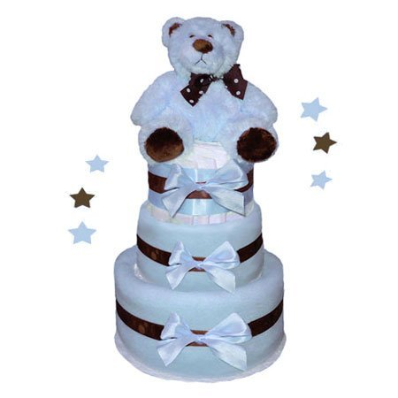 Tumbleweed Babies 1183013 Baby Bear Diaper Cake In Blue- 3 Tier- Boy