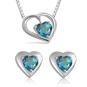 Heart Shape Blue Topaz and Sterling Silver Set
