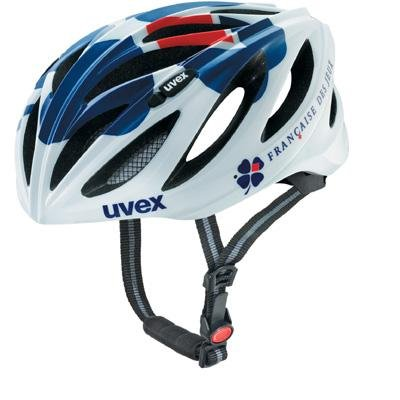 UVEX Sport Boss Race Bicycle Helmet (White/Blue/Red, 54-60cm)