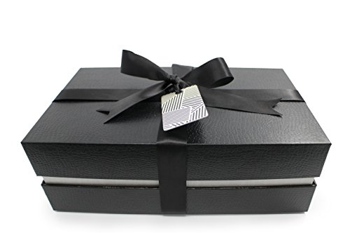 Fancy Gift Box Kit with Lid and Ribbon | Tissue Paper & Tag, Black Crocodile Exterior | Complete Gifting Set | Decorative Storage for Collectibles | Interior Size: 10.25x6x3.25 inches (Miami Silver) (Gold Storage Box With Lid compare prices)