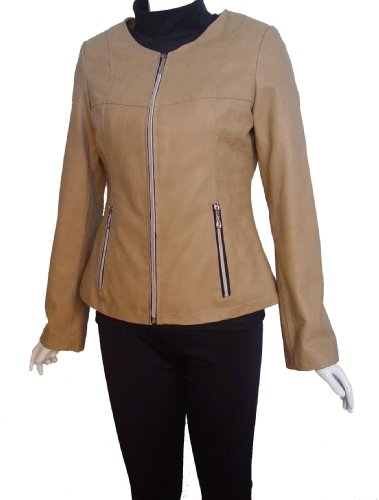 Nettailor FREE tailoring Women PLUS 4067 Leather Moto Jacket Collarless