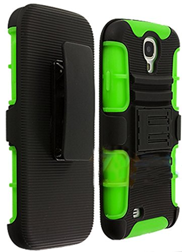 Mylife Lime Green + Black Shockproof Survivor (Built In Kickstand + Belt Clip Holster) Case For The Samsung Galaxy S4, I9500, I9505, Sph-L720, Galaxy S Iv, Sgh-I337, Sch-I545, Sgh-M919, Sch-R970 And Galaxy S4 Lte-A Touch Phone (Dual Layer Thick External S