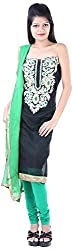 JYOTI Women's Kora Silk Unstiched salwar Suit (JBAM-21, Black)