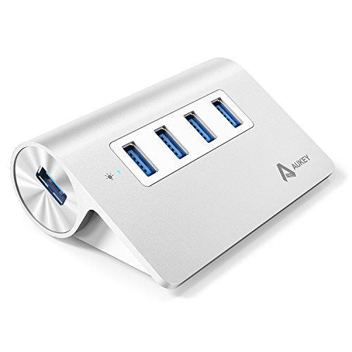 AUKEY Hub USB 3.0 4 porte SuperSpeed in Alluminio con Cavo USB 3.0 1m per iMac, MacBook Air, MacBook Pro, MacBook, Mac Mini, PC e Computer Portatile