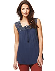 Indigo Collection Folk Diamond Vest Top