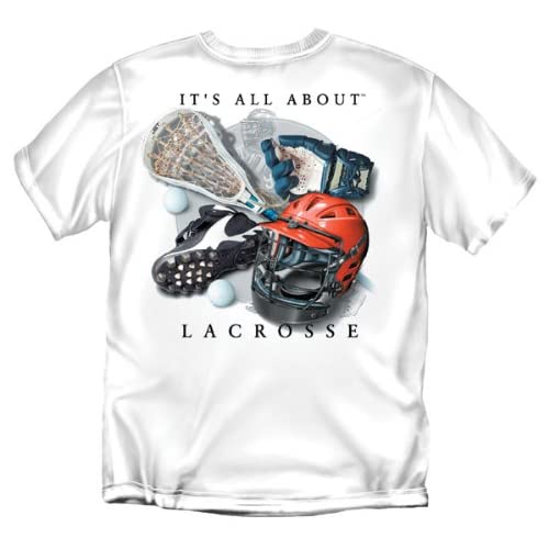 Its All About Lacrosse Youth Size T-Shirt (White) Youth Medium