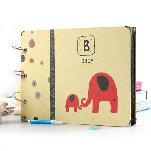 "10X7"" Scrapbook Diy Baby Growth Photo Recording Album Red Elephant front-899803"