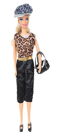 Banana Kong Doll's Fashion Leopard Sleeveless Clothing+Black Casual Pants