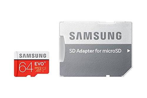 Samsung Memory 64 GB EVO Plus MicroSDXC UHS-I Grade 1 Class 10 Memory Card with SD Adapter - Black/Red/White