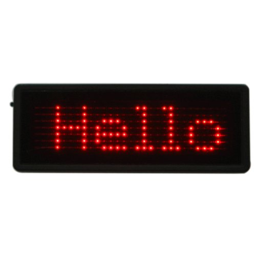 Hde Programmable Scrolling Message Red Led Magnetic Name Badge