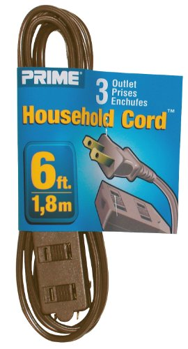 Prime Wire & Cable Ec670606 6-Foot 16/2 Spt-2 3-Outlet Indoor Cord, Brown