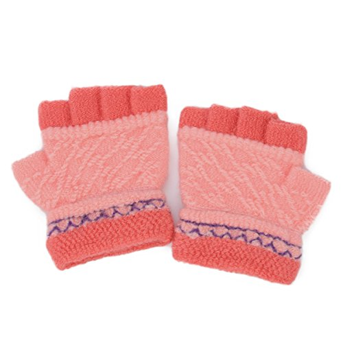 Flammi Unisex Kids Half Finger Stretchy Knit Gloves (Fits for 2-4yrs) (Pair) (Pink)
