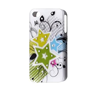 Floral Star Pattern Rubber Coated Plastic Back Case for iPhone 4 4G 4GS 4S