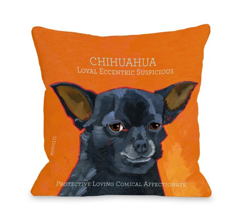 Bentin Pet Decor Chihuahua 3 Pillow, 16 by 16-Inch
