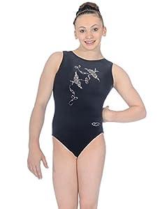"""The Zone Z103SPI justaucorps de gymnastique sans manches avec motif en strass Spirit en velours lisse, noir, taille 24"""""""