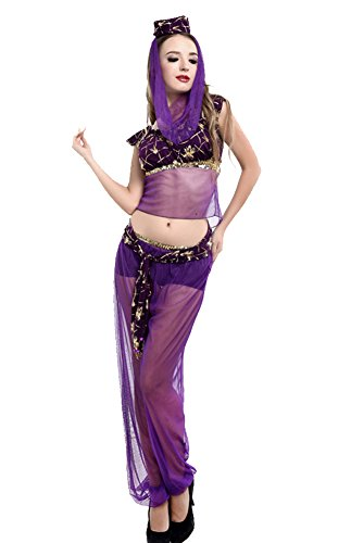 [COSWE Women's Princess Jasmine Aladdin Belly Dance Costume (2XL, Purple)] (Purple Belly Dance Costume)
