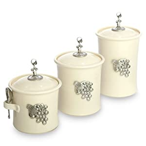 Artisans domestic ceramic canister 3 piece for Cream kitchen set