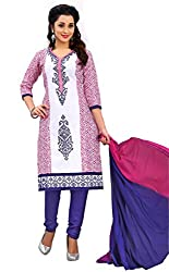 Justkartit Women's Unstitched Multicolour Straight Style Office Wear Dress Material / Work Wear Salwar Suit / Party wear Amazing Printed + Embroidery Chudidar Salwar Kameez (Chudidar Collection July-2016)