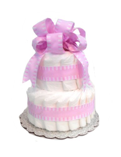 Classic Pastel Baby Shower Diaper Cake (2 Tier, Pink) - 1
