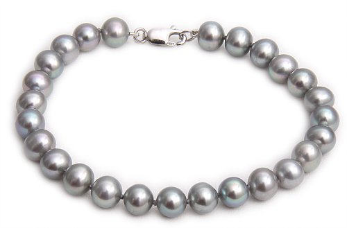9ct White Gold 6.5-7mm Grey Semi Round Cultured Freshwater Pearl Bracelet