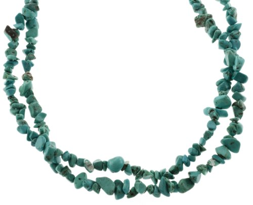 Genuine Turquoise Double Strand Chip Necklace with Sterling Silver Clasp, 18