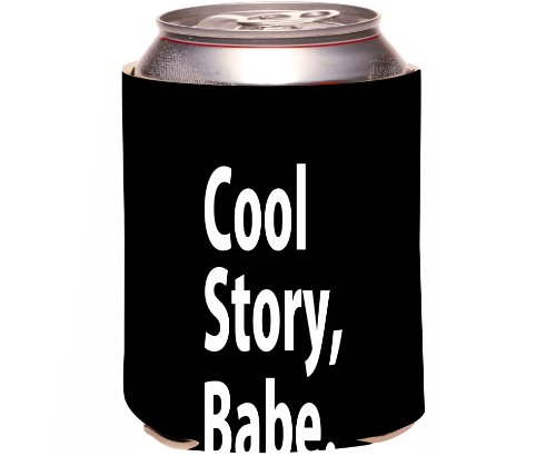 "Rikki Knight ""Cool Story Babe White On Black Design"" Beer Can Soda Drinks Cooler Koozie front-614953"