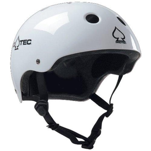 Pro-tec Classic Gloss Skateboard Helmet, White,