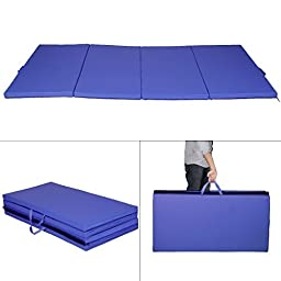 Giantex Blue 4'x8'x2'' Thick Folding Panel Gymnastics Mat Gym Fitness Exercise Mat by Giantex