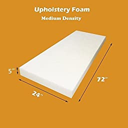 5\'\' X 24\'\' X 72\'\' Upholstery Foam Cushion Medium Density Standard (Seat Replacement , Upholstery Sheet , Foam Padding) by FoamTouch