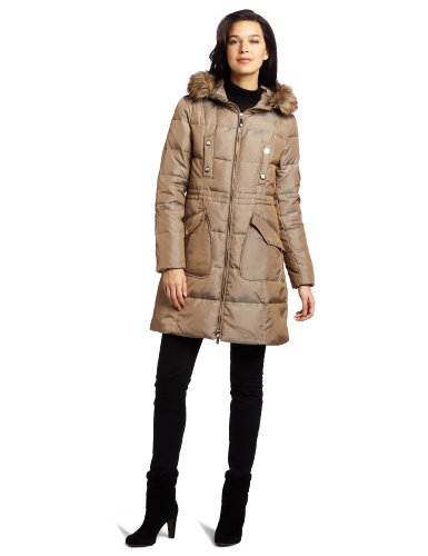 Vince Camuto Women's 3/4 Sleeve Down Coat, Tan, X-Large