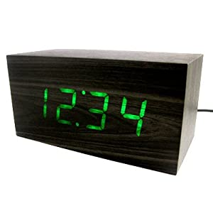 Green / Red LED Wood Wooden Block Desk Alarm Clock Thermometer Date
