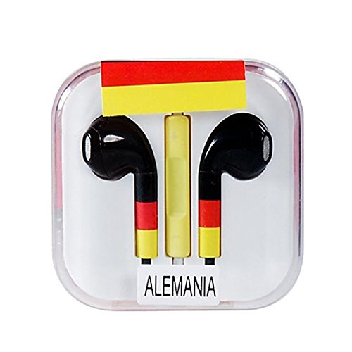 Vamvaz Fashion World Alemania Flag Design 3.5Mm Volume Controllable In-Ear Earphone With Microphone For Iphone 4 4G 4S 5 5S 5C Ipad 2 Mini 5 Air Ipod