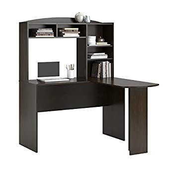 Altra Furniture Dakota Space SavingL Desk with Hutch, Dark Russet Cherry