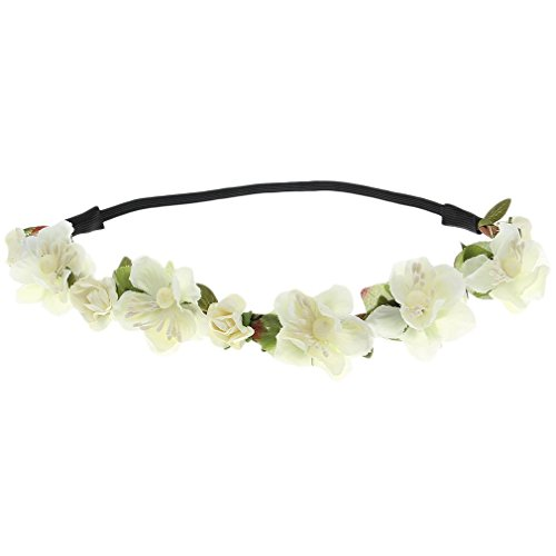 Floral Fall Cute Stretch Flower Crown Party Headband Wedding Hair Wreath F-003 White