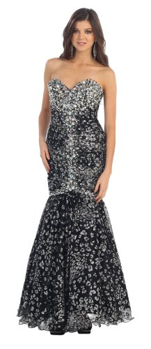 Ball Gown Strapless Long Formal Prom Dress #7039 (12, Black)
