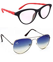 Aventus Combo of Summer Blue Aviator & Clear Lens Cateyes Women COMS02S15