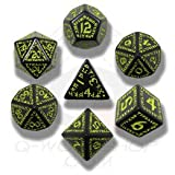 Q workshop Runic Dice set - Black and Yellow