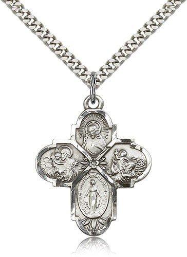 4 Way Cross Pendant, Sterling Silver