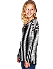 Pure Cotton Embellished & Striped Sweat Top