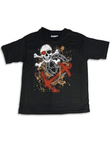 Mis Tee V-Us - Big Boys Short Sleeve Skull And Crossbones T-Shirt, Black 25497-10/12 front-945085