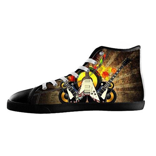 Gckg(Tm) Women'S Electric Bass Guitar Pattern High Top Canvas Shoes Fashion Sneaker Hi Casual-6M Us