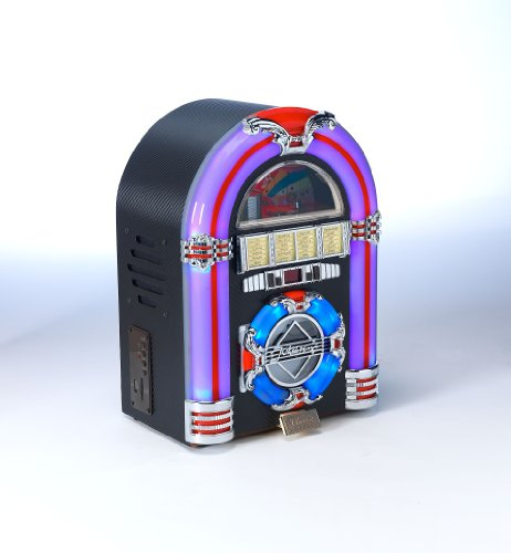 MP3 CD Rock Mini LED Jukebox - COLOUR CHANGING LED LIGHTS - RADIO / CD / MP3 Playback: USB 2.0 / SD Memory card... Black Friday & Cyber Monday 2014