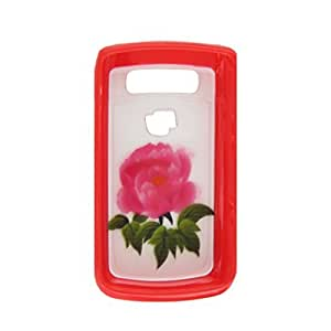 Red Monthly Rose Plastic Cover Protector for Blackberry 9700