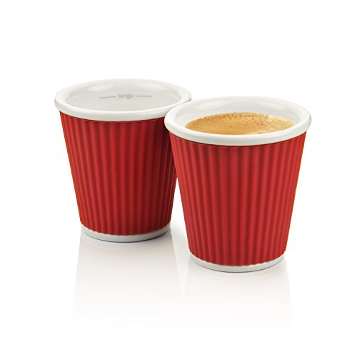Les Artistes 3-Ounce Espresso Cups, 2-Pack, Red (Red Espresso Set compare prices)