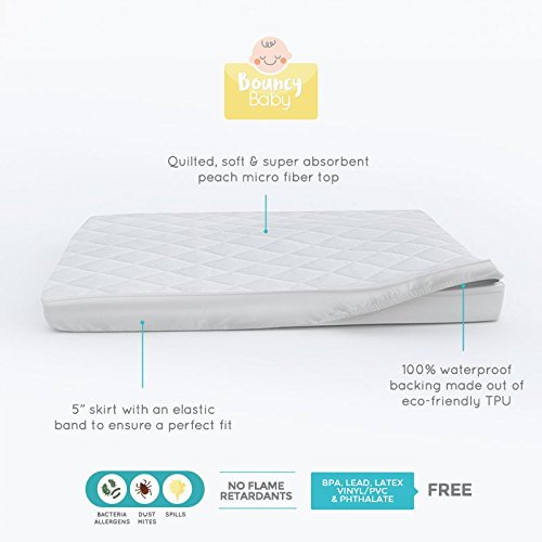 Bouncy Baby Pack N Play Crib Mattress Pad Protector - Fits ALL Mini, Portable & Foldable Baby Mattresses - Waterproof, Dryer Friendly, Hypoallergenic - Best Fitted Crib Mattress Pad Cover (Custom Size Crib Mattress compare prices)